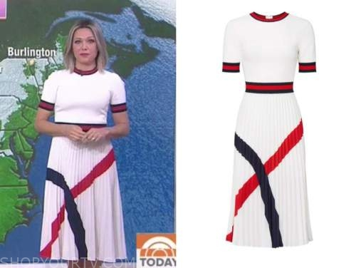 dylan dreyer, the today show, white knit contrast trim pleated dress