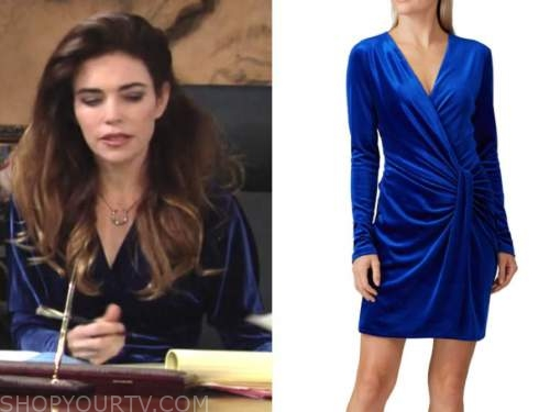 victoria newman, amelia heinle, the young and the restless, blue velvet dress
