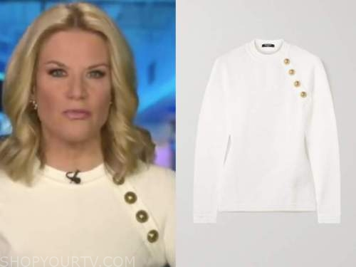 martha maccallum, the story, white sweater with gold buttons