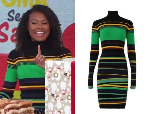 janai norman, good morning america, green and black striped knit turtleneck dress