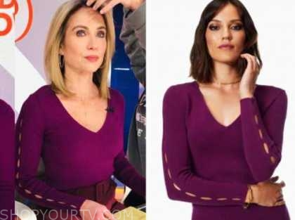 amy robach, good morning america, purple v-neck cutout sleeve sweater