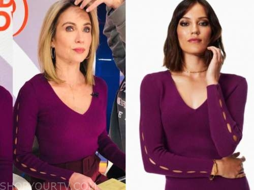 amy robach, good morning america, purple v-neck cutout sleeve sweater