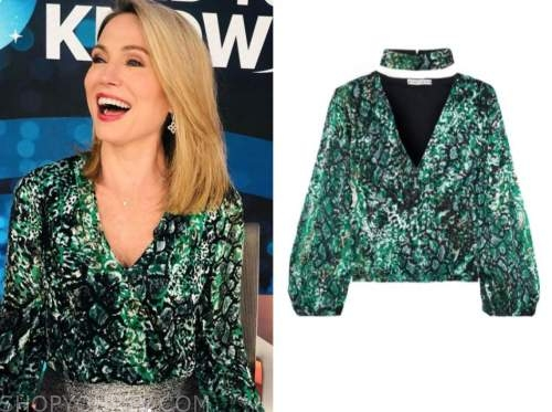 amy robach, good morning america, green printed blouse