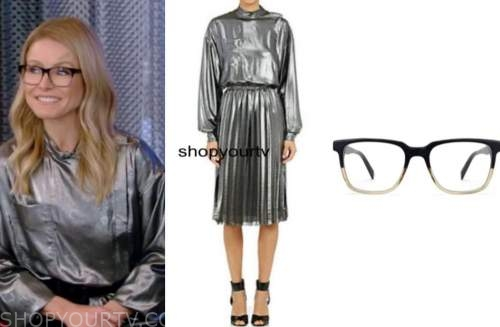 kelly ripa, live with kelly and ryan, silver metallic dress, glasses