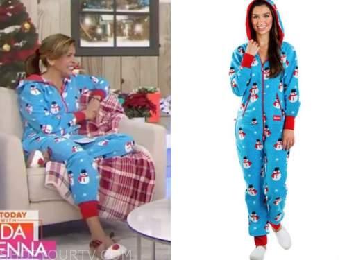 hoda kotb, the today show, blue snowman christmas onesie pajamas