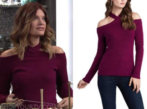 phyllis newman, michelle stafford, the young and the restless, burgundy cold-shoulder sweater