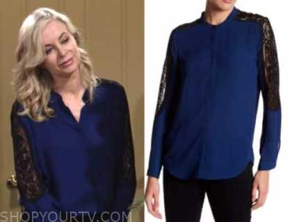 ashley abbott, the young and the restless, eileen davidson, blue and black lace insert blouse