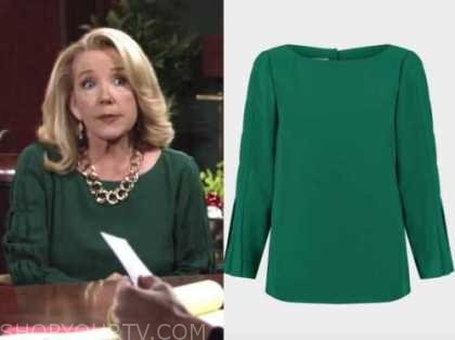 nikki newman, melody thomas scott, the young and the restless, green pleated sleeve top