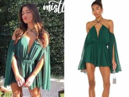 hannah ann sluss, the bachelor, green halter cape dress romper