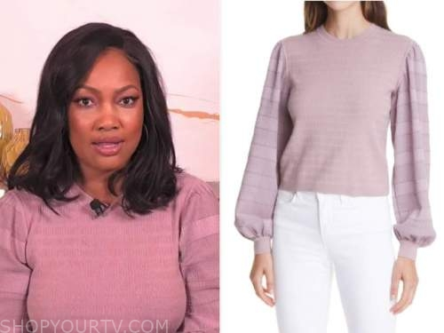garcelle beauvais, the real, purple sweater