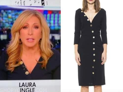 laura ingle, america's newsroom, navy blue button sheath dress