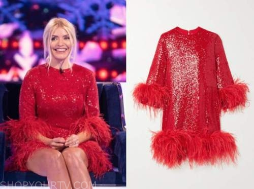 holly willoughby, the wheel, red sequin feather dress
