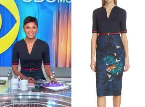 jericka duncan, navy blue floral sheath dress, cbs this morning
