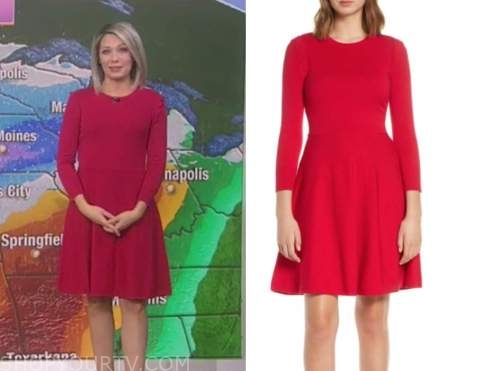 dylan dreyer, the today show, hot pink knit flare dress