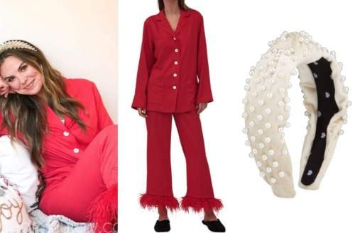 hannah brown, the bachelorette ,red feather pajamas, pearl headband
