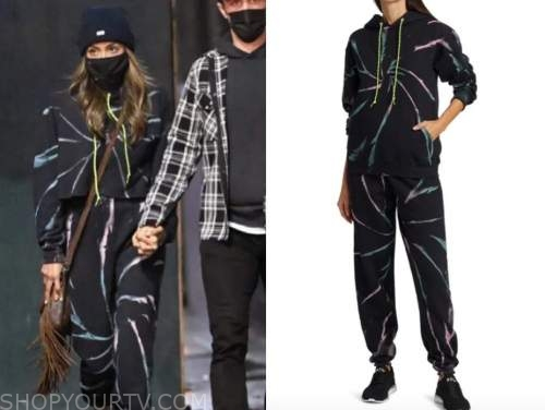 tayshia adams, the bachelorette, black tie dye hoodie and sweatpants