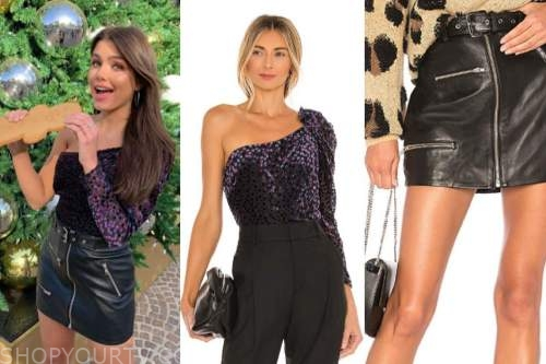 hannah ann sluss, the bachelor, one-shoulder top, leather skirt