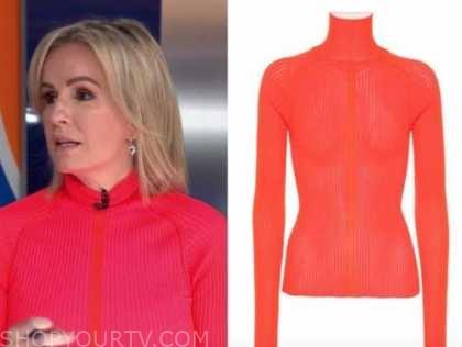 dr. jennifer ashton, good morning america, pink and orange turtleneck sweater