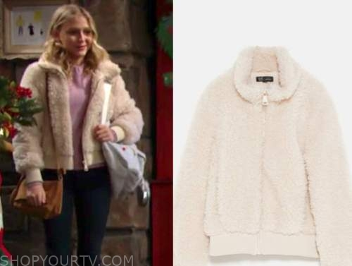 faith newman, alyvia alyn lind, fleece bomber jacket, the young and the restless