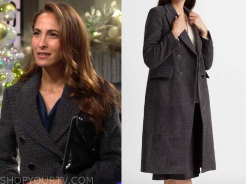 lily winters, the young and the restless, christel khalil, grey plaid coat
