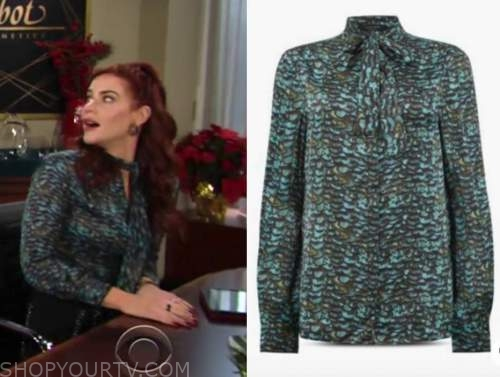 sally spectra, courtney hope, the young and the restless, green tie neck blouse