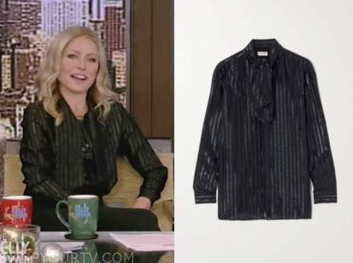 kelly ripa, live with kelly and ryan, navy blue metallic stripe tie neck blouse