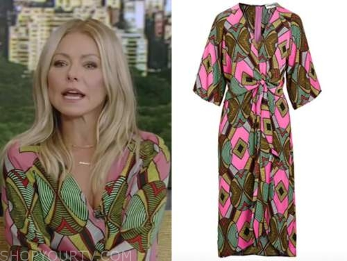 kelly ripa, live with kelly and ryan, green and pink printed midi dress