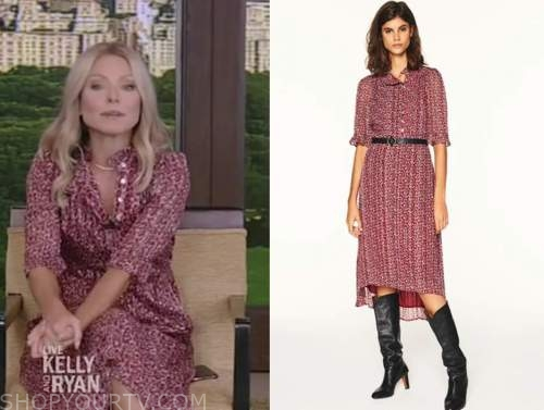 kelly ripa, live with kelly and ryan, red printed dress