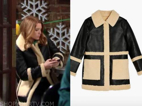 black leather shearling jacket, madison thompson, jordan, the young and the restless,