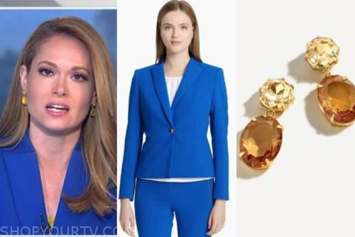 gillian turner, blue blazer, crystal earrings, america's newsroom