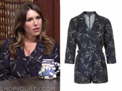 elizabeth hendrickson, chloe mitchell, the young and the restless, navy blue leaf romper