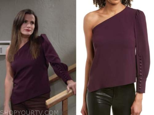chelsea newman, melissa claire egan, purple one-shoulder top, the young and the restless