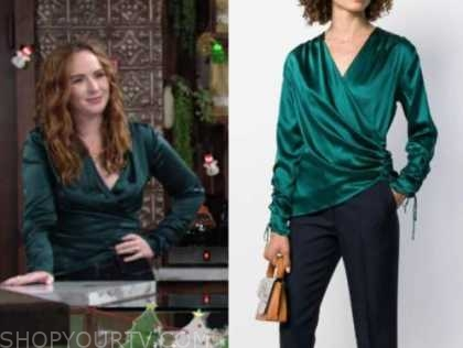 mariah copeland, camryn grimes, the young and the restless, green satin blouse