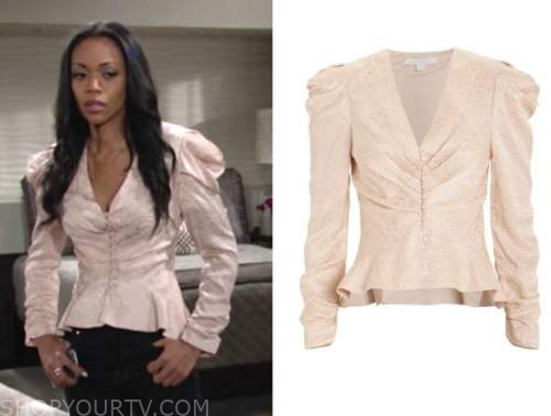 amanda sinclair, the young and the restless, mishael morgan, blush pink satin leopard blouse