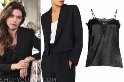 victoria newman, amelia heinle, the young and the restless, black blazer, black lace camisole