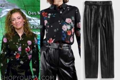 ginger zee, good morning america, black floral shirt, black leather pants
