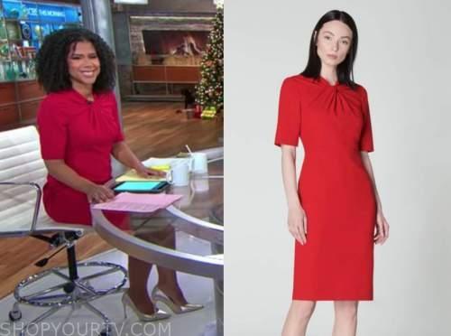 adriana diaz, red twist sheath dress, cbs this morning