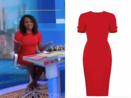 good morning america, janai norman, red bow sheath dress