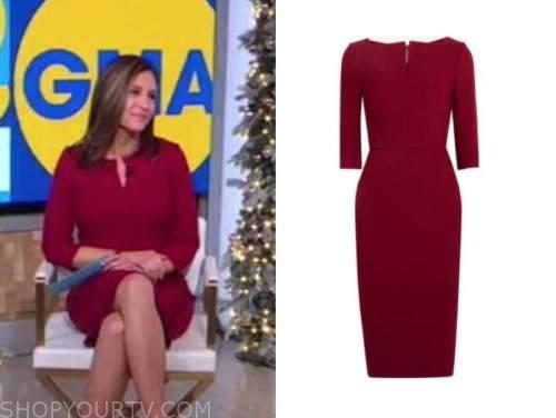 mary bruce, good morning america, burgundy red sheath dress