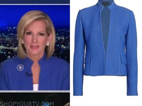 shannon bream, fox news at night, blue textured jacket