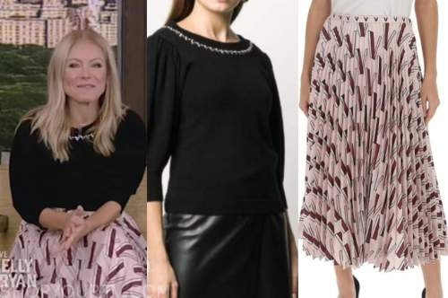 kelly ripa, live with kelly and ryan, pink pleated midi skirt, black embellished sweater