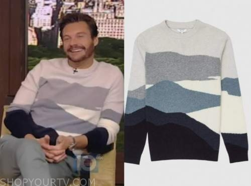 ryan seacrest, live with kelly and ryan, blue colorblock sweater