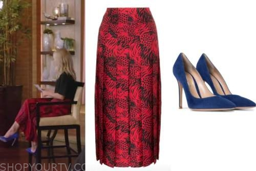 kelly ripa, live with kelly and ryan, red tiger skirt, blue suede pumps