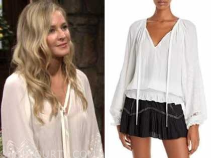 sharon newman, sharon case, the young and the restless, white tie neck eyelet embroidered top