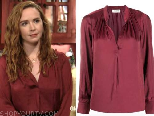 camryn grimes, the young and the restless, mariah copeland, burgundy blouse