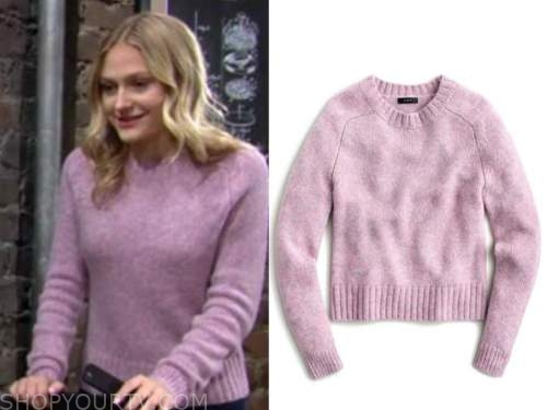 faith newman, the young and the restless, purple sweater, alyvia alyn lind