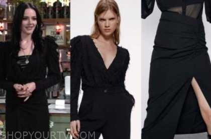tessa porter, cait fairbanks, the young and the restless, black fringe bodysuit, black skirt