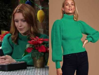 jordan, the young and the restless, green textured turtleneck sweater, madison thompson