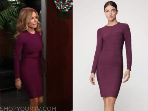 lauren fenmore baldwin, tracey bregman, the young and the restless, purple bandage dress