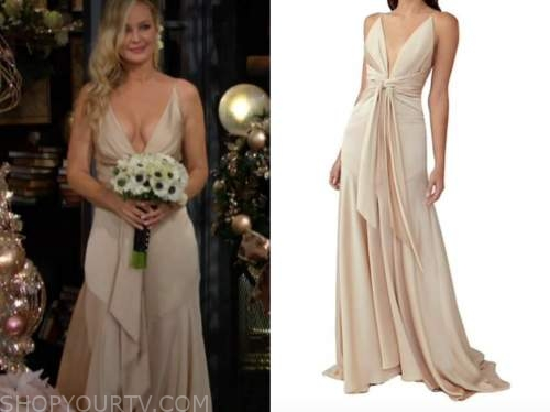 sharon newman, sharon case, gold silk wedding gown, wedding dress, sharon and rey wedding, the young and the restless